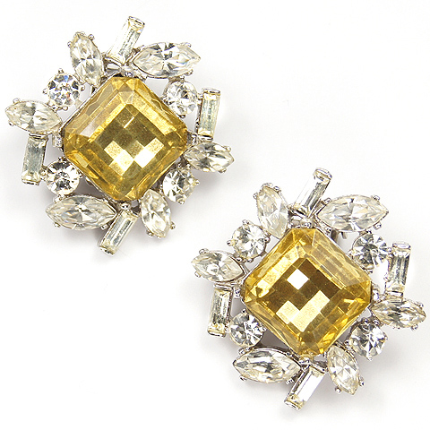 Kenneth Lane Diamante Navettes and Baguettes and Multifaceted Citrines Clip Earrings
