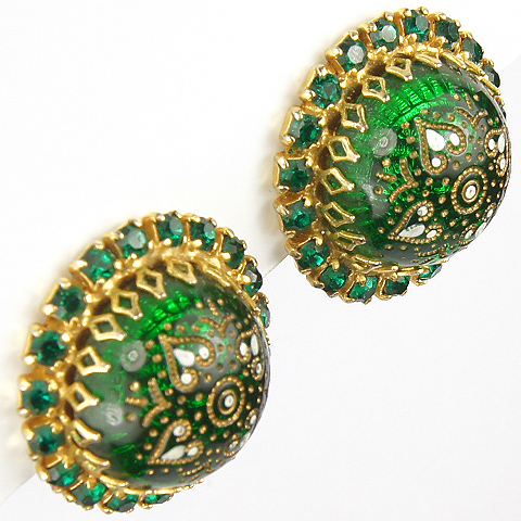 Hattie Carnegie Green Iridescent Poured Glass Globes with Inset Cloisonne Enamel Indian Crosses Clip Earrings