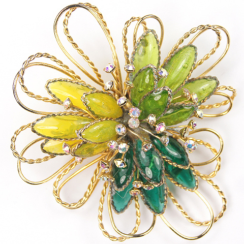 Hattie Carnegie Green and Yellow Poured Glass Leaves Aurora Spangles and Gold Loops Pin
