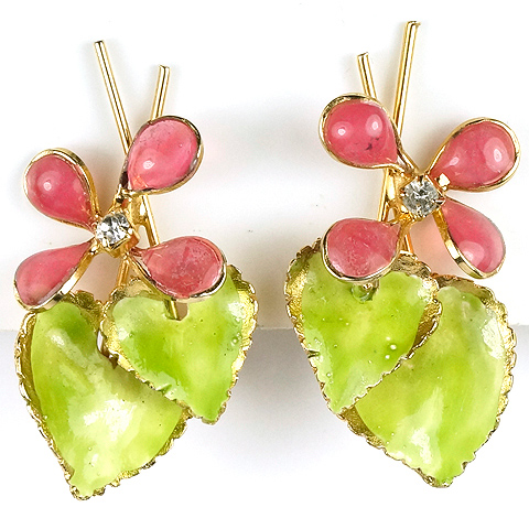 Hattie Carnegie Green Enamel Leaves and Pink Poured Glass Flowers Clip Earrings