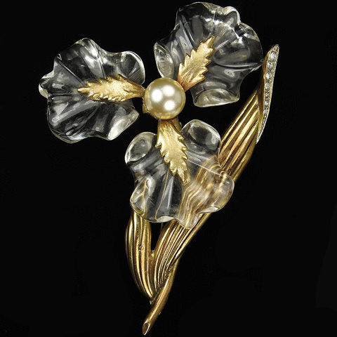 Gold Pave and Pearl 'Jewels of Fantasy' Giant Three Petalled Jelly Belly Flower Pin