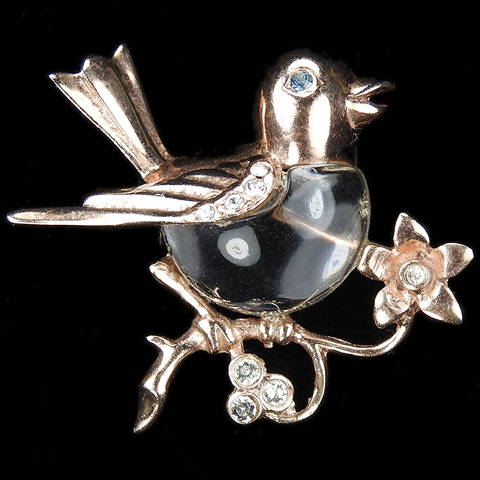 Sterling Jelly Belly Bird on Branch with Flowers Pin