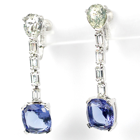 Jomaz (unsigned) Sapphire and Baguettes Pendant Clip Earrings
