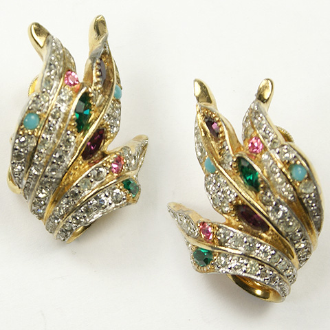 Jomaz Pave and Multicolour Leaves Adjustable Clip Earrings