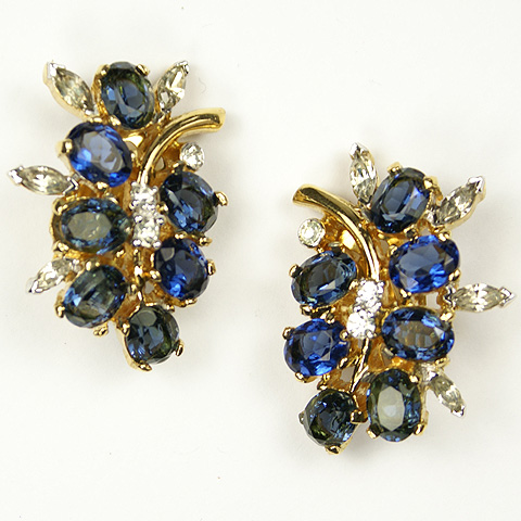 Joseph Mazer Sapphire Fruits on Branches Clip Earrings