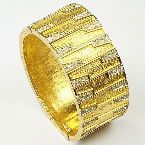 Joseph Mazer Gold Segments and Pave Highlights Sprung Bangle Bracelet