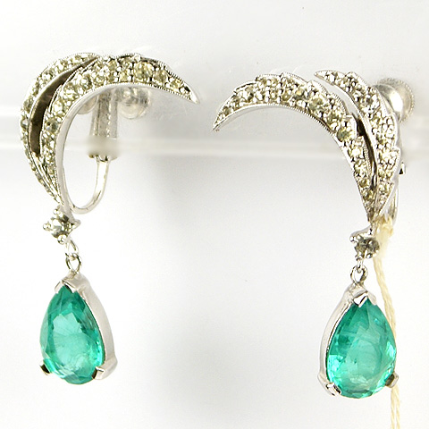 Jomaz Double Pave Crescents and Pendant Emerald Clip Earrings