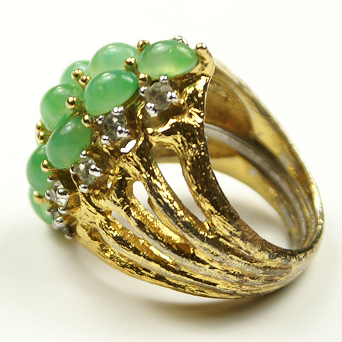 Jomaz Gold and Jade Cabochons Finger Ring