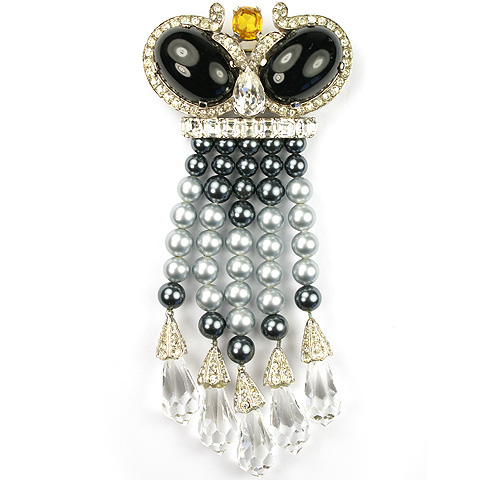 Jomaz Onyx Cabochons Grey Pearls and Crystals Crown with Tassels Pin