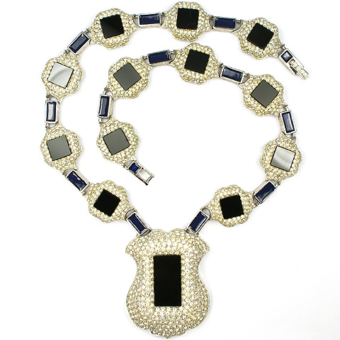 Joseph Mazer Pave Jet and Lapis Inset Shield Collar Necklace