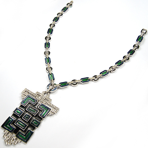Jomaz Aztec Style Pave Maze Pattern and Blue and Green Enamel Pendant Necklace