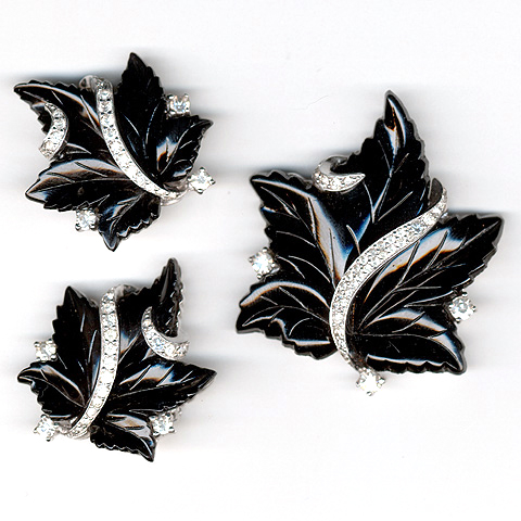 Jomaz Pave and Black Poured Glass Ivy Leaves Pin and Clip Earrings Set