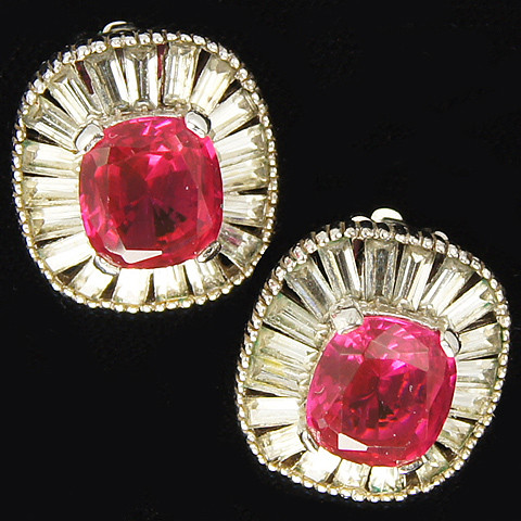 Jomaz Ruby and Baguettes Button Clip Earrings