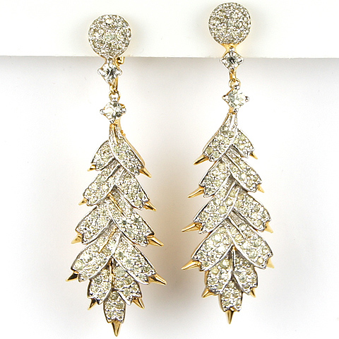 Jomaz Gold and Pave Leaves Pendant Clip Earrings