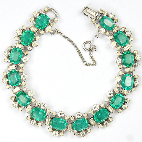 Jomaz Pave Baguettes and Emeralds Tennis Bracelet