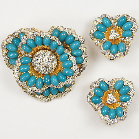 Jomaz 'Jewels of Fantasy' Gold Pave and Turquoise Cabochons Flower Pin and Clip Earrings Set