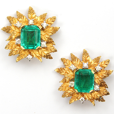Jomaz Spangled Gold Leaves and Emeralds Clip Earrings