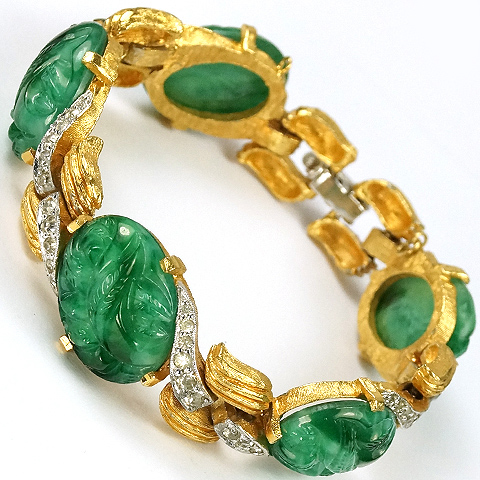 Jomaz (unsigned) Gold and Pave Waves Jade Ovals Link Bracelet