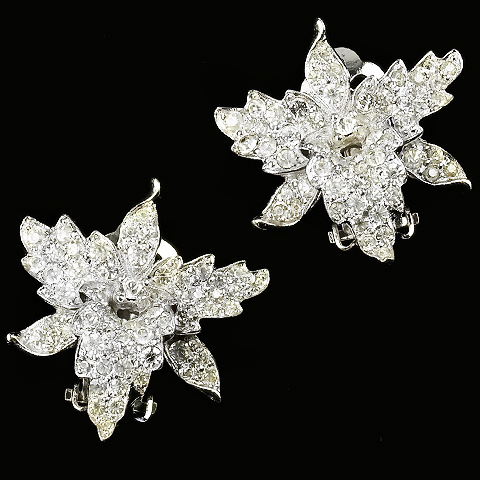 Jomaz (unsigned) Pave Diamante Orchid Clip Earrings