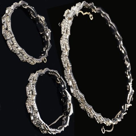 Joseph Mazer Pave and Baguettes Interlinked Chevrons Pair of Bracelets or Choker Necklace