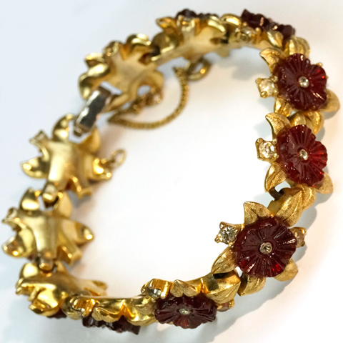 Jomaz Gold Leaves and Ruby Fruit Salads Bracelet