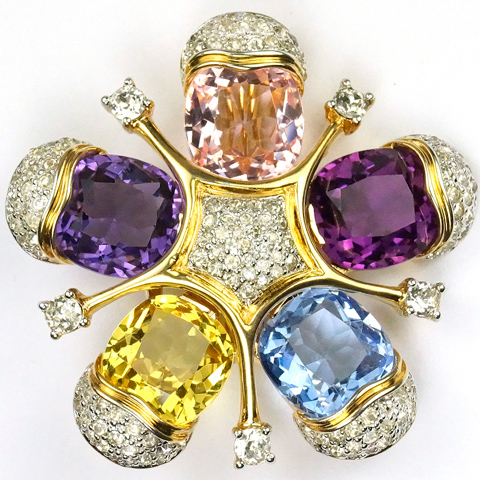 Jomaz Pave and Multicoloured Stones Five Pointed Star Pin