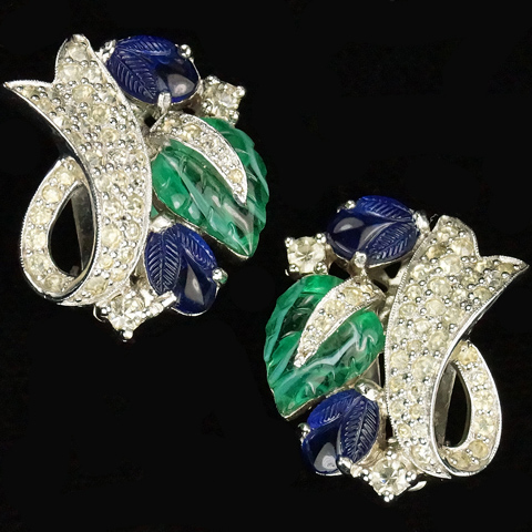 Jomaz Pave Swirls and Emerald and Sapphire Fruit Salad Leaves Clip Earrings
