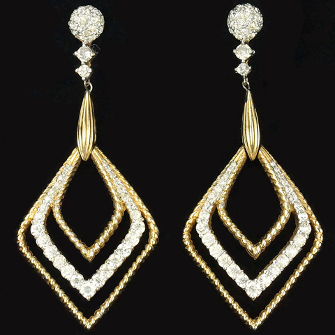 Jomaz Gold and Pave Giant Rhombus Pendant Clip Earrings