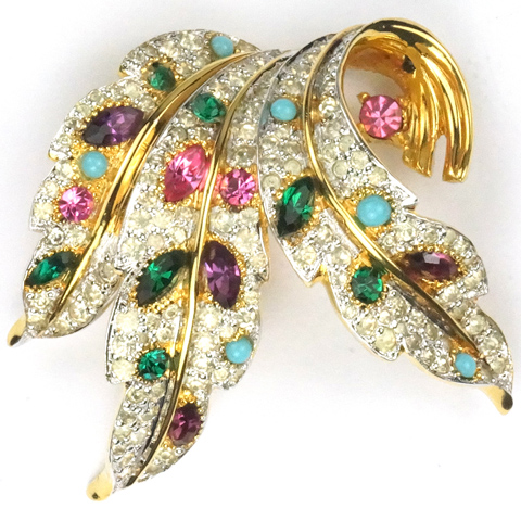 Jomaz Gold Pave Turquoise and Multicolour Stones Leaf Swirl Pin
