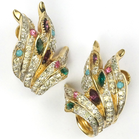 Jomaz (Joseph Mazer) Gold Pave Turquoise and Multicolour Stones Leaf Swirl Clip Earrings
