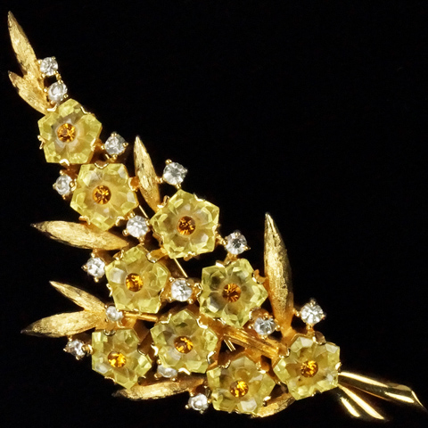 Jomaz Gold Leaves and Citrine Fruit Salad Flowers Floral Spray Pin