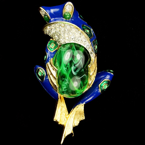 Jomaz Blue Pave and Emerald Belly Frog Pin