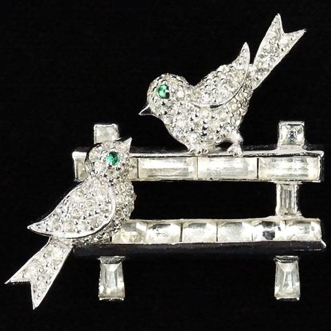 Jomaz Pave Love Birds on an Invisibly Set Diamante Park Bench Pin