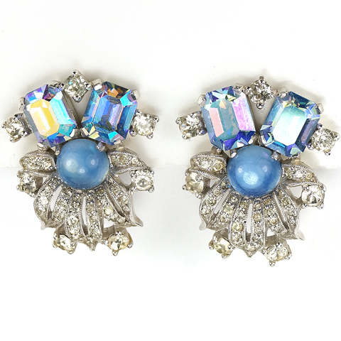 Jomaz Pave Leaves Blue Moonstone and Aurora Borealis Floral Clip Earrings
