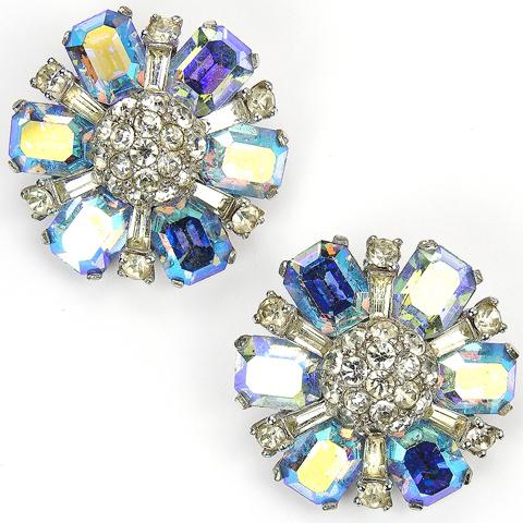 Jomaz Aurora Borealis Star and Pave Hemispheres Clip Earrings