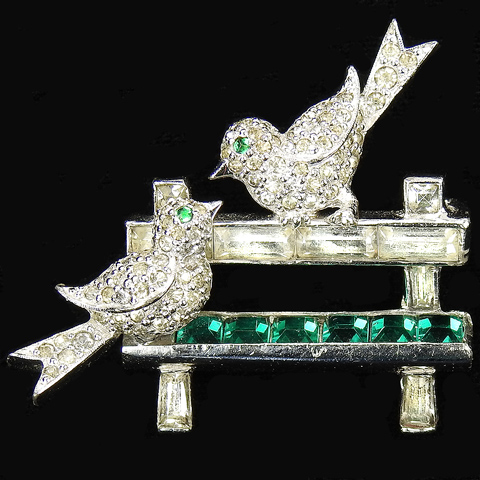 Jomaz Pave Love Birds on an Invisibly Set Emerald Park Bench Pin