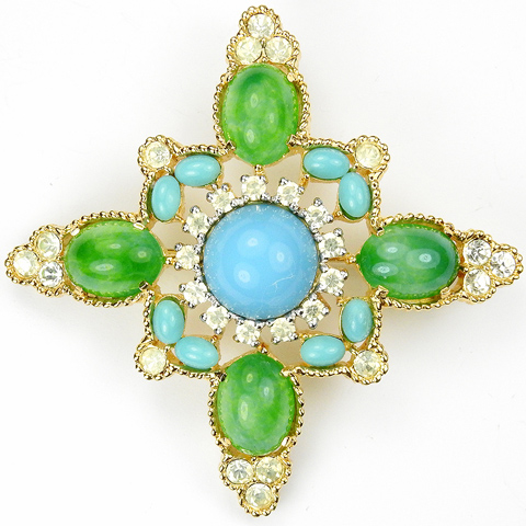 Jomaz (unsigned) Gold and Diamante Turquoise and Jade Cabochons Cross Pin