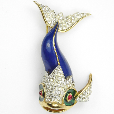 Jomaz Pave and Blue Enamel Tropical Fish Pin