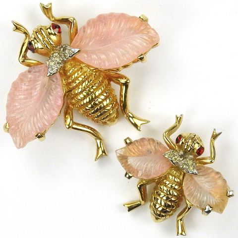 Jomaz Gold and Pink Fruit Salads Pair of Bugs with Wings Pins