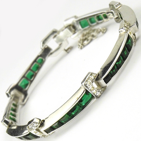 Jomaz Invisibly Set Emerald Chevrons Link Bracelet