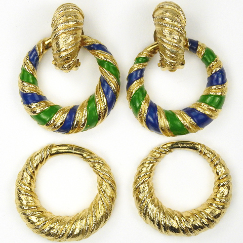 Jomaz Interchangeable Gold Braided or Blue and Green Candy Striped Pendant Circles Clip Earrings