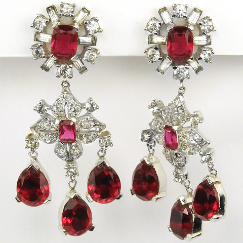 Jomaz Pave Quatrefoil Ruby Flower and Triple Teardrop Rubies Chandelier Pendant Clip Earrings