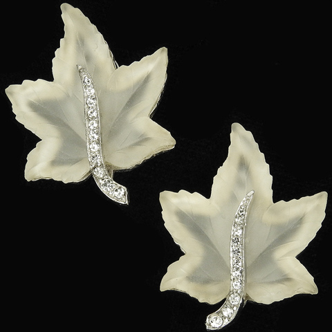 Jomaz Pave and Poured Glass White Ivy Leaf Clip Earrings