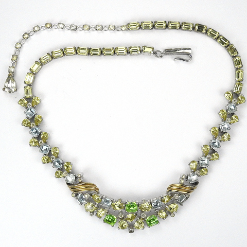Jomaz Gold Pave Amethyst Citrine and Peridot Swirl Necklace