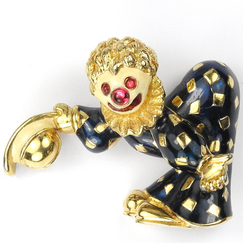 Jomaz Gold and Black Enamel Circus Clown Taking a Bow Pin