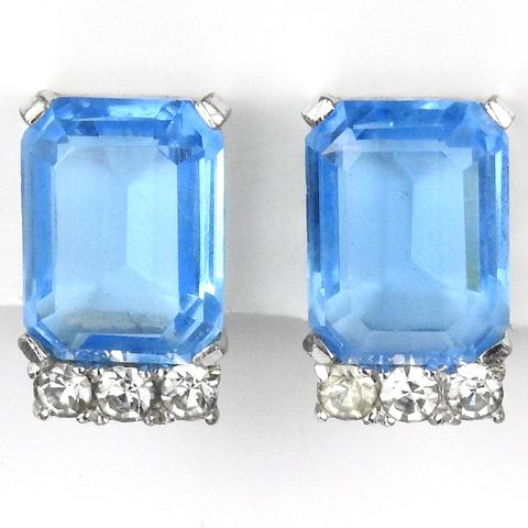 Jomaz Diamante Spangles and Octagon Cut Blue Topaz Clip Earrings