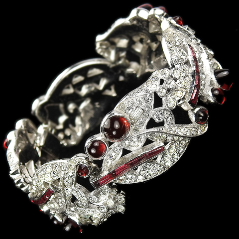 Jomaz Pave Leaves and Invisibly Set Rubies and Ruby Cabochons Link Bracelet