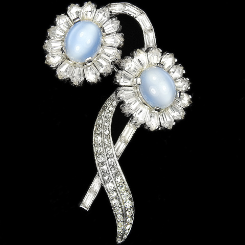 Jomaz Pave Kite Shaped Diamante Baguettes and Blue Moonstones Double Flower Spray Pin