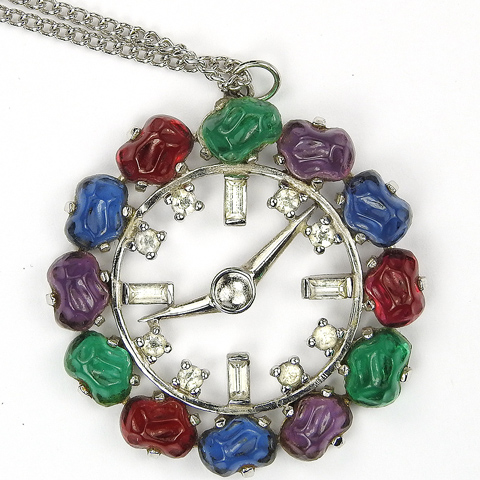 Jomaz Multicolour Fruit Salads Clock Face Pendant Necklace