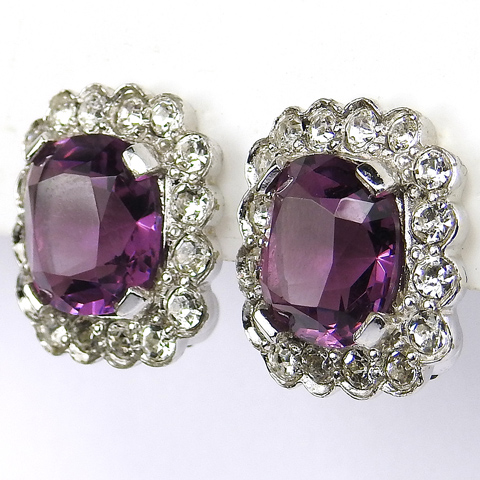 Joseph Mazer Pave and Amethyst Square Button Clip Earrings